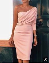 dress,pink,one shoulder,midi dress,bodycon dress