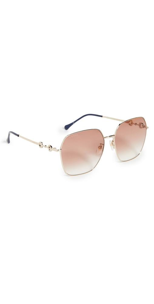 Gucci Horsebit Metal Square Sunglasses in brown / gold