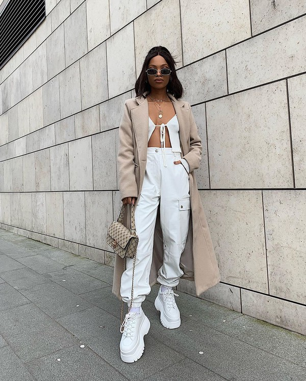 shoes sneakers cargo pants white pants coat crop tops white top bag