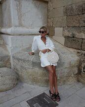 bag,round bag,white bag,white dress,shirt dress,mini dress,black sandals