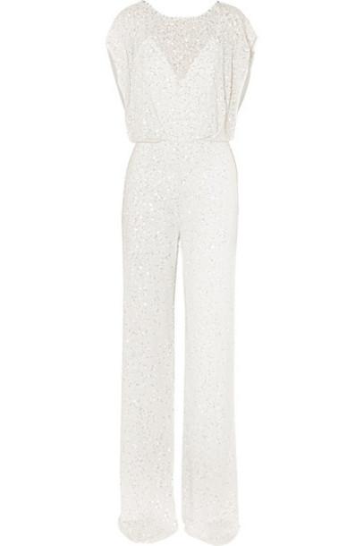 Jenny Packham - Open-back Crystal-embellished Sequined Chiffon Jumpsuit - Ivory
