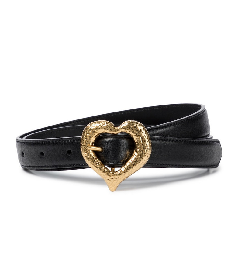 Saint Laurent Heart leather belt in black