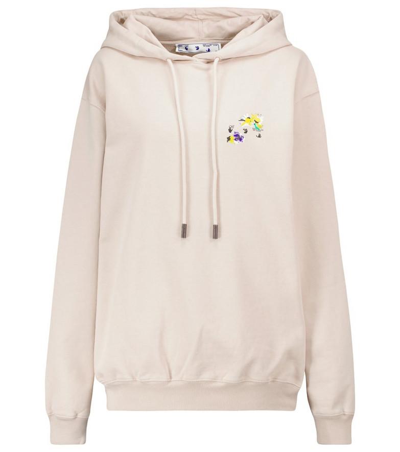 Off-White Logo cotton hoodie in beige