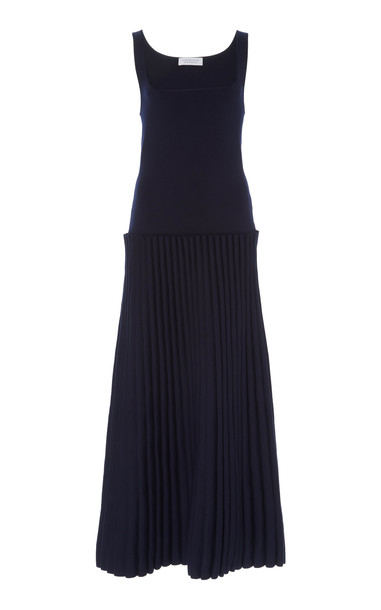Gabriela Hearst Azevedo Plissé Wool Dress Size: XS in navy