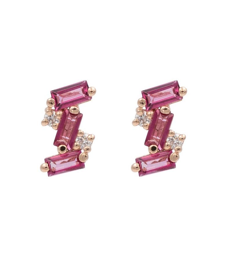 Suzanne Kalan 14kt rosè gold pink topaaz earrings with diamonds