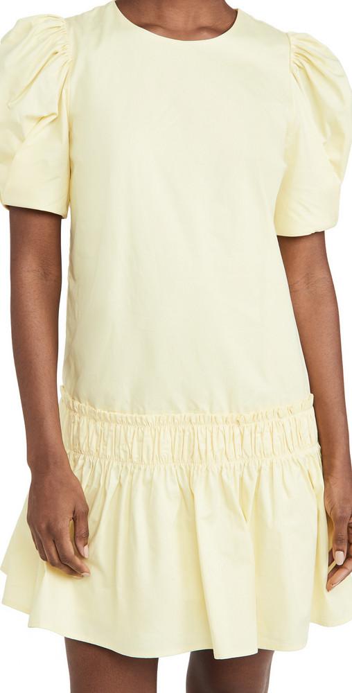 ENGLISH FACTORY Poplin Ruffle Detail Dress in yellow