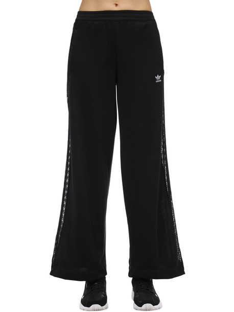 ADIDAS ORIGINALS Wide Leg Pants W/ Lace Side Bands in black