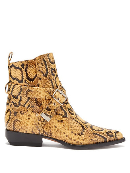 Chloé Chloé - Python Effect Leather Ankle Boots - Womens - Black Yellow