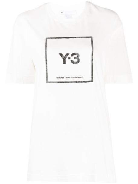 Y-3 logo print T-shirt in white