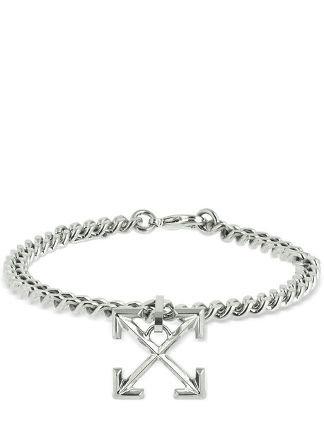 OFF-WHITE Logo Arrows Metal Bracelet in silver