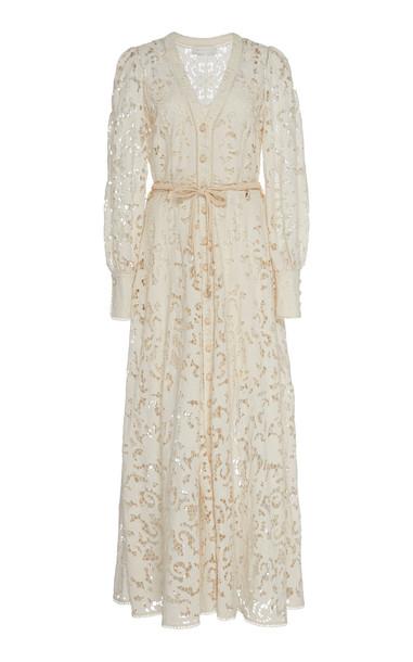 Zimmermann Bonita Bow-Detailed Crochet-Knit Cotton Lace Dress Size: 0 in white