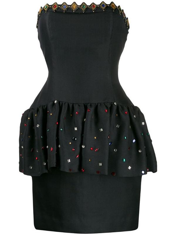 Yves Saint Laurent Pre-Owned 1980's strapless peplum dress in black