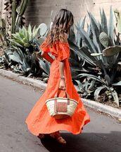 dress,orange dress,off the shoulder dress,flat sandals,loewe bag