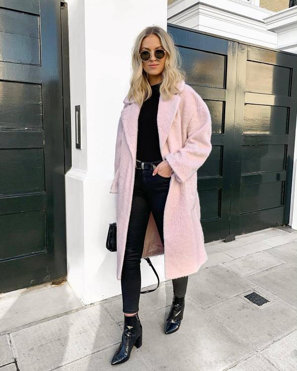 coat long coat topshop patent boots black boots heel boots ankle boots black jeans black skinny jeans black belt black bag black top