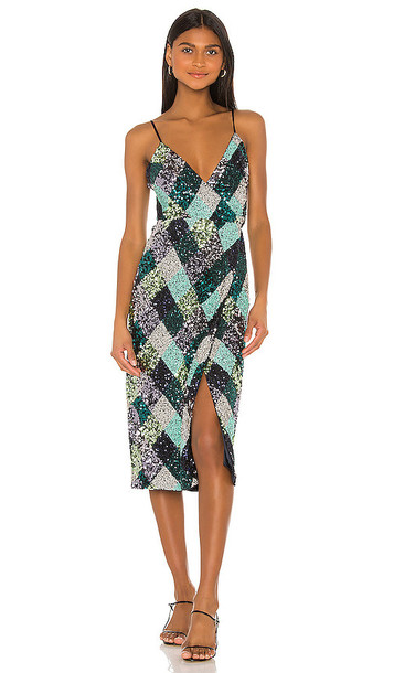 Song of Style Echo Midi Dress in Black,Green