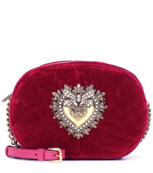Dolce & Gabbana Devotion velvet camera bag in red