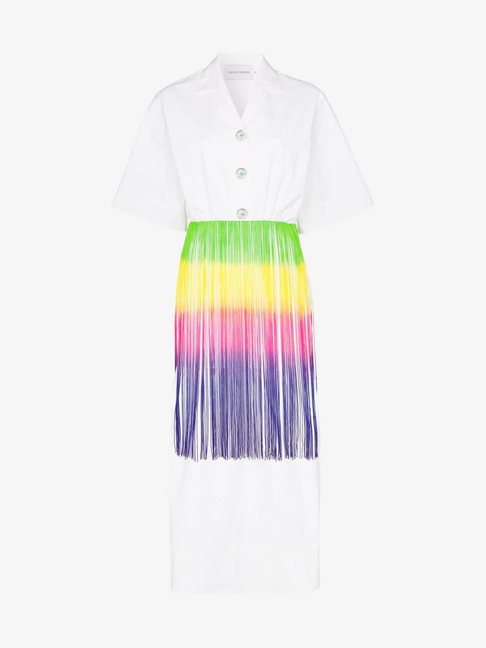 George Keburia Fringed shirt midi-dress in white