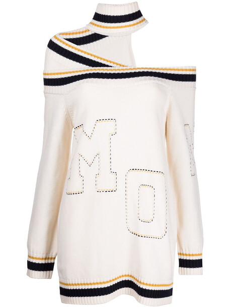 Monse letterman-style cold-shoulder knit dress - White