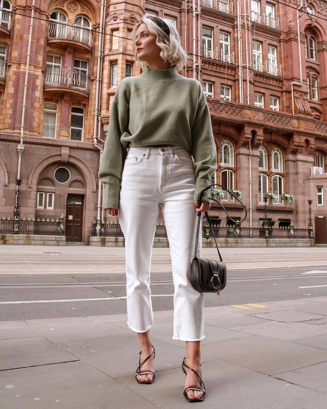 sweater turtleneck sweater white jeans cropped jeans high waisted jeans sandal heels black bag