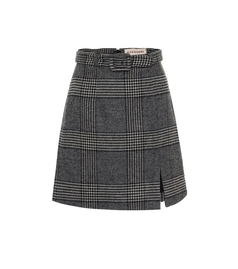 AlexaChung Whatever Prince of Wales checked miniskirt in grey