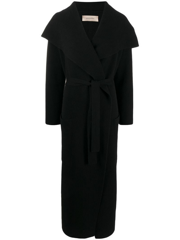 Gentry Portofino belted double-breasted cashmere coat in black