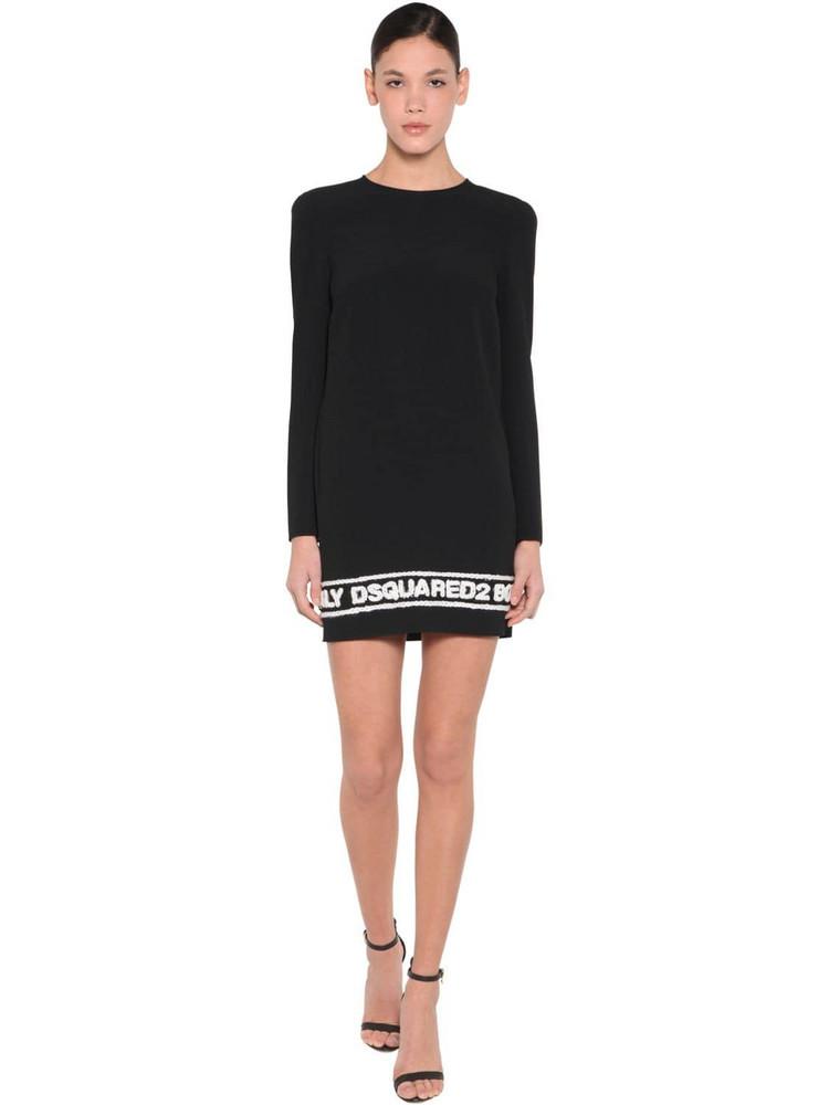 DSQUARED2 Logo Stretch Viscose Crepe Dress in black