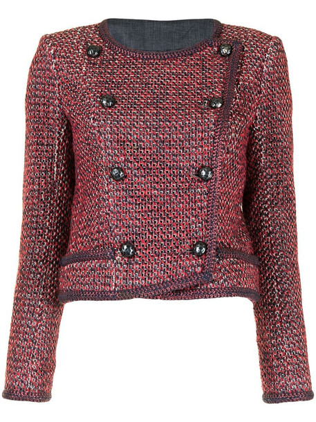 Chanel Pre-Owned cropped double-breasted tweed jacket in red