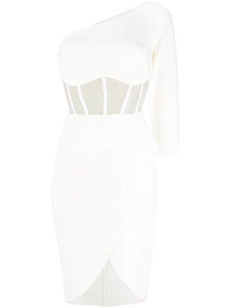 Elisabetta Franchi one-shoulder fitted dress in white