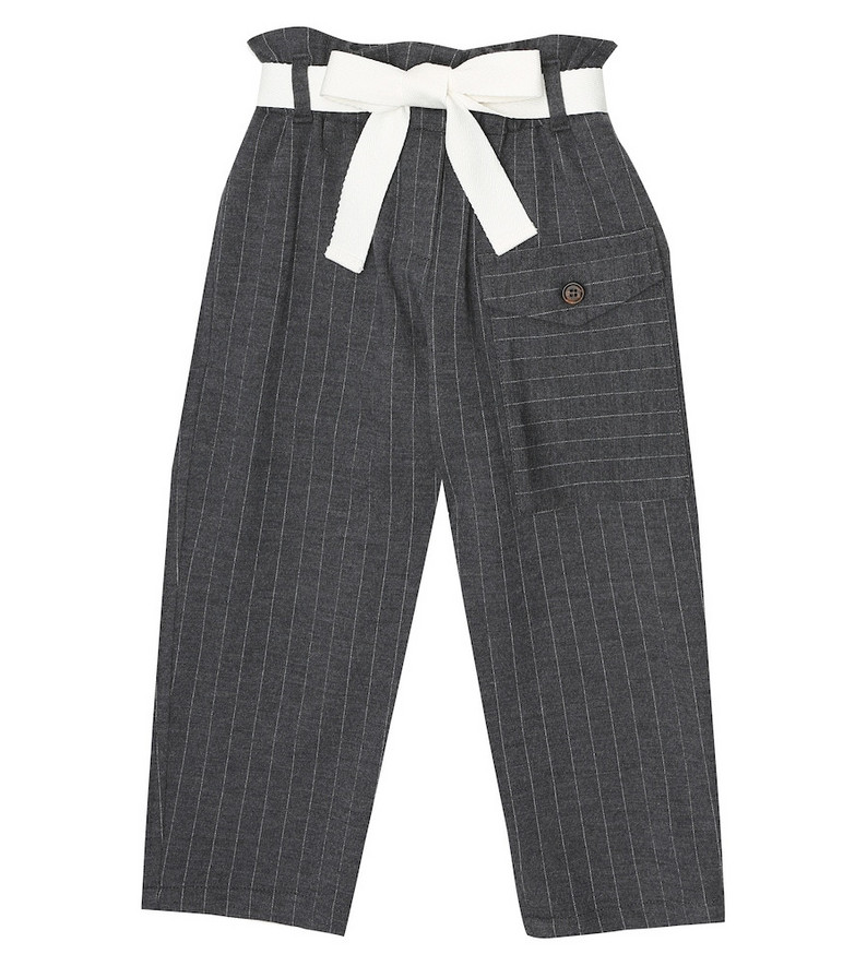Brunello Cucinelli Kids Pinstriped wool and cotton paperbag pants in grey