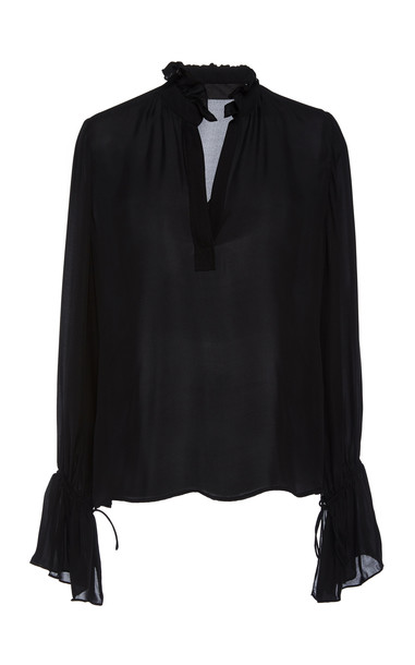 NILI LOTAN Demi Ruffled Silk-Chiffon Top Size: XS in black