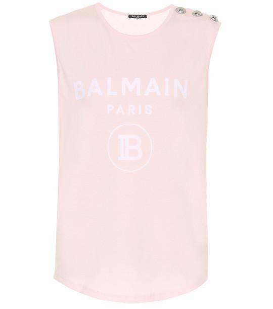 Balmain Logo cotton top in pink