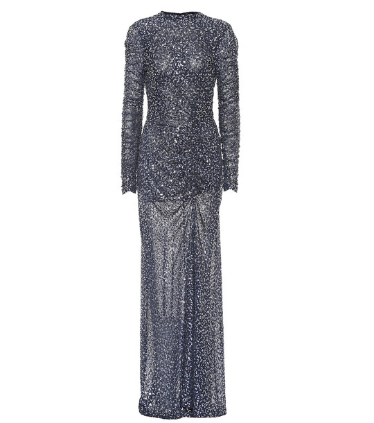 Jonathan Simkhai Open-back sequined gown in blue