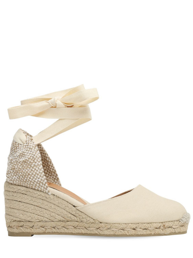 CASTAÑER 60mm Carina Canvas Espadrille Wedges in ivory