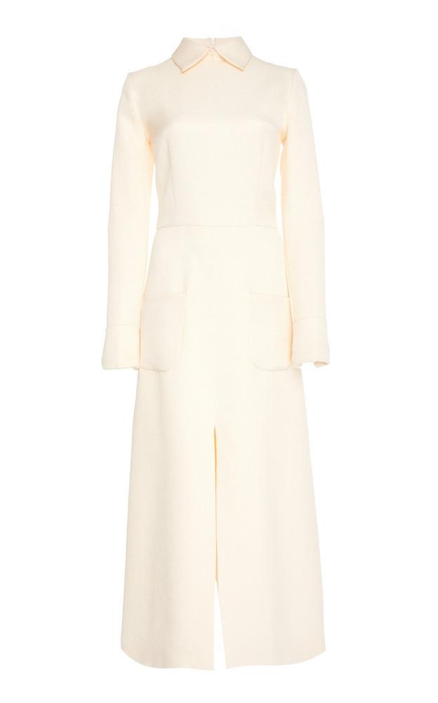Rebecca de Ravenel Jacquard Silk Wool Dress in white