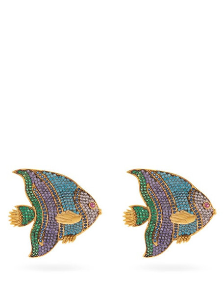 Begum Khan - Nemo Crystal & 24kt Gold-plated Clip Earrings - Womens - Multi