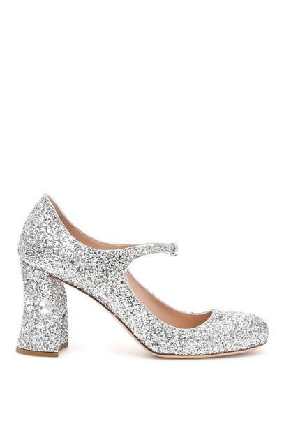 Miu Miu Glitter Mary Jane Pumps in silver