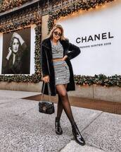 skirt,mini skirt,blazer,cropped,patent shoes,lace-up shoes,tights,gucci bag,black bag,black coat