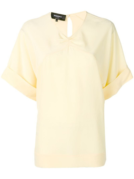 Rochas v-neck boxy blouse in yellow