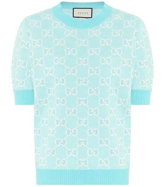 Gucci GG wool and cotton piqué sweater in blue