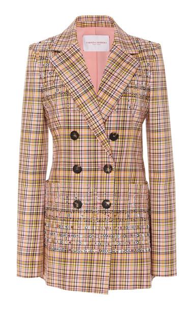 Carolina Herrera Embroidered Double-Breasted Cotton Jacket
