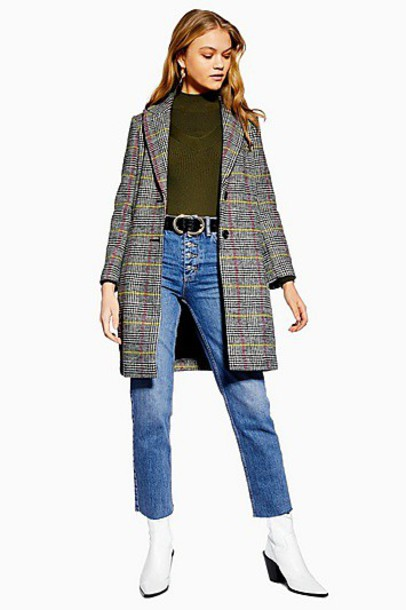 TopShop Petite Piper Check Coat - Multi