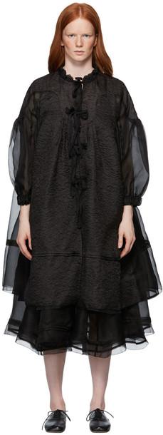 Renli Su Black Mulberry Silk Lace Up Coat