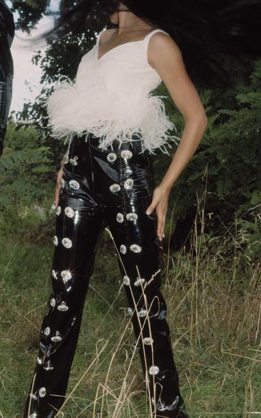 16Arlington Straight-Leg Leather Pants in black