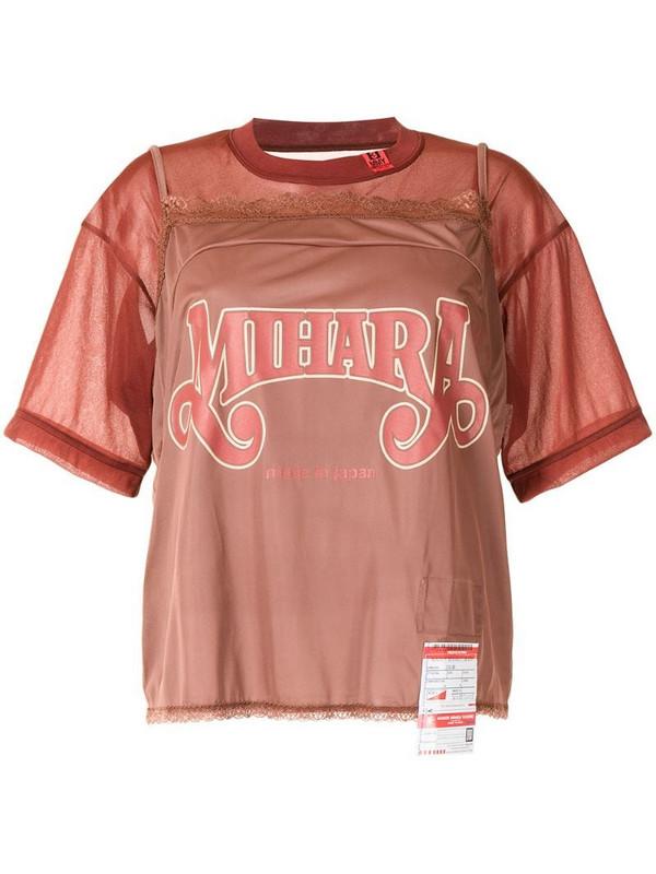 Maison Mihara Yasuhiro logo print T-shirt in brown