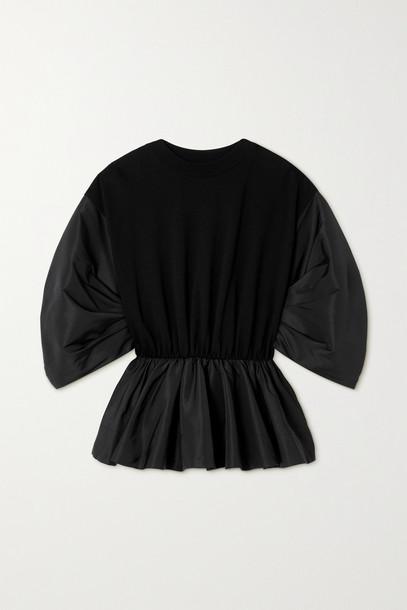 ALEXANDER MCQUEEN - Gathered Cotton-jersey And Faille Peplum Sweatshirt - Black