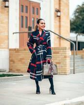 coat,long coat,plaid,navy coat,high heel sandals,tights,handbag,gucci belt,earrings