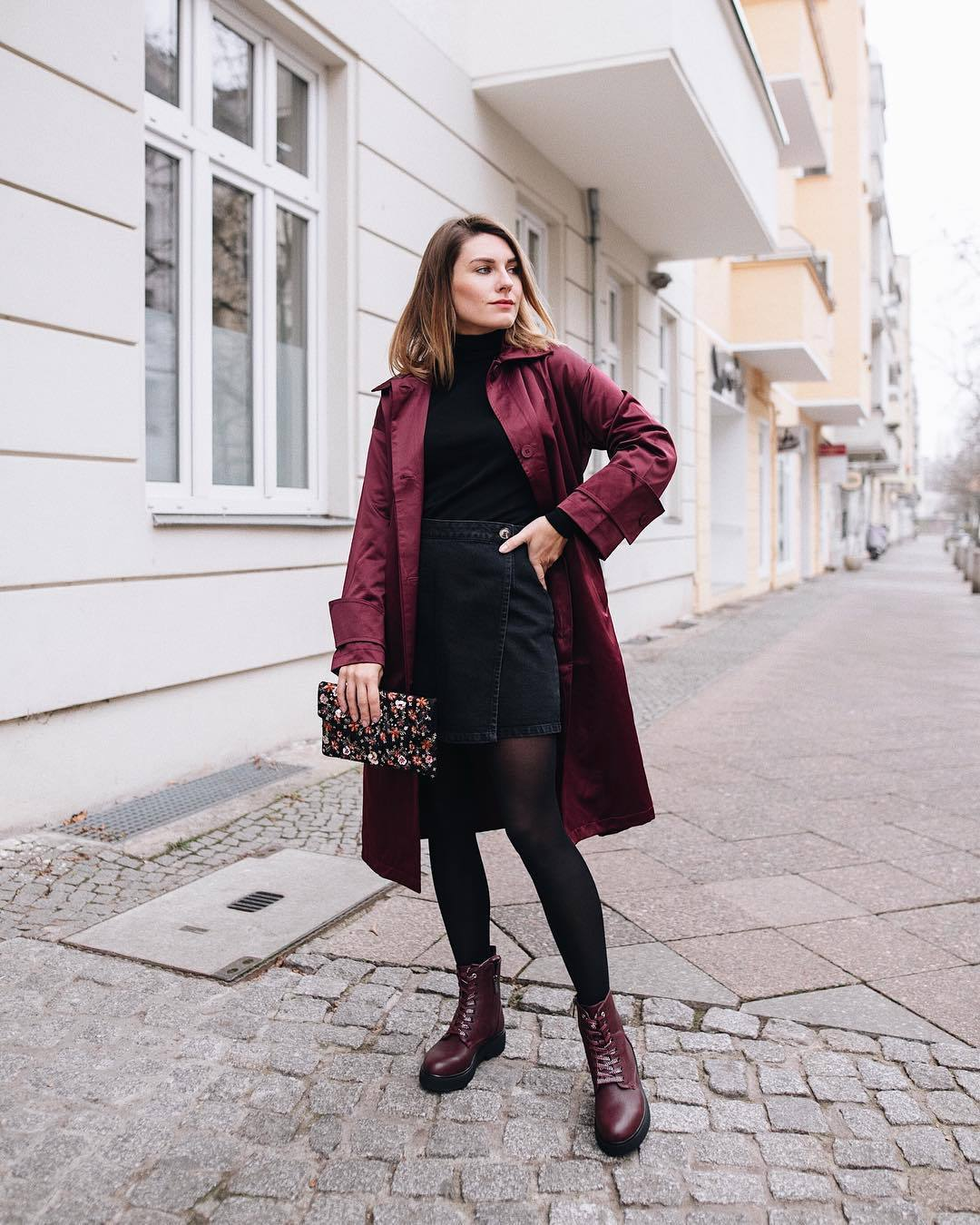 skirt wrap skirt denim skirt black skirt lace up boots tights bag coat black turtleneck top