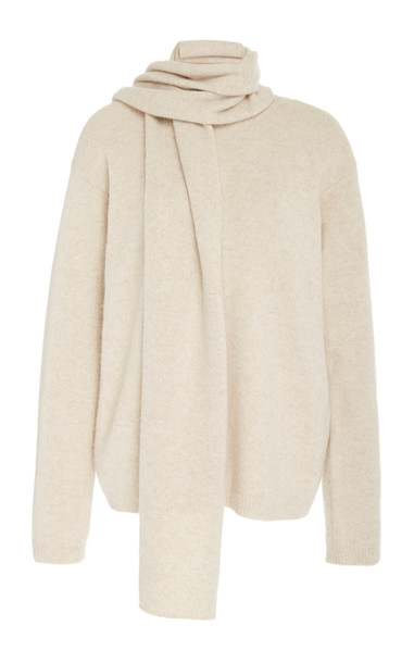 Deveaux Scarf-Detailed Cashmere Sweater in white