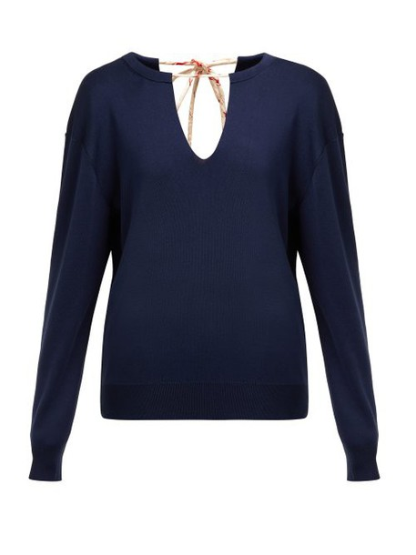 Chloé Chloé - Split Neck Silk Blend Sweater - Womens - Navy