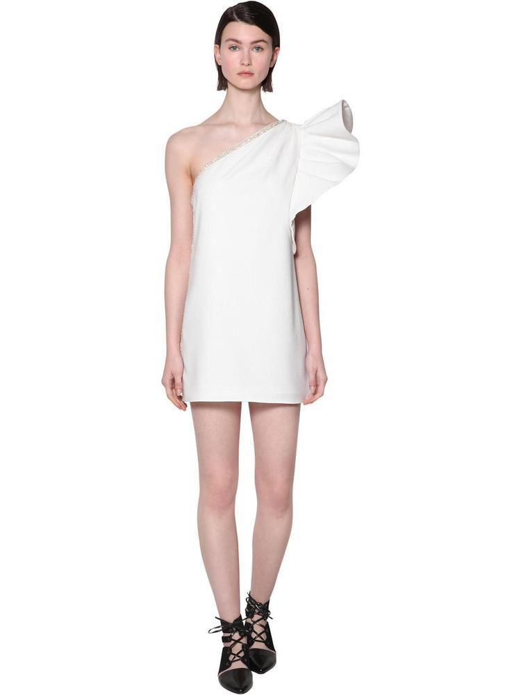 SELF-PORTRAIT Embellished Volant Crepe Mini Dress in white